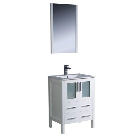 """Picture of Fresca Torino 24"""" White Modern Bathroom Vanity w/ Integrated Sink"""