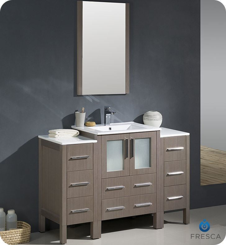 """Picture of Fresca Torino 48"""" Gray Oak Modern Bathroom Vanity with 2 Side Cabinets and Integrated Sink"""