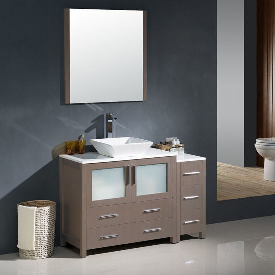 """Picture of Fresca Torino 48"""" Gray Oak Modern Bathroom Vanity with Side Cabinet and Vessel Sink"""