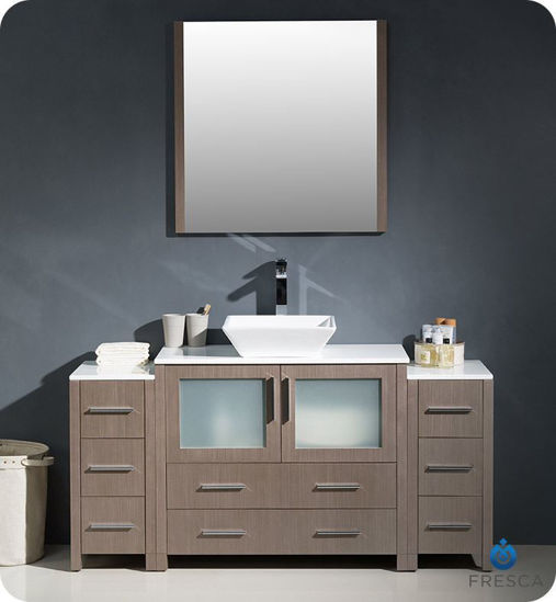 """Picture of Fresca Torino 60"""" Gray Oak Modern Bathroom Vanity with 2 Side Cabinets and Vessel Sink"""