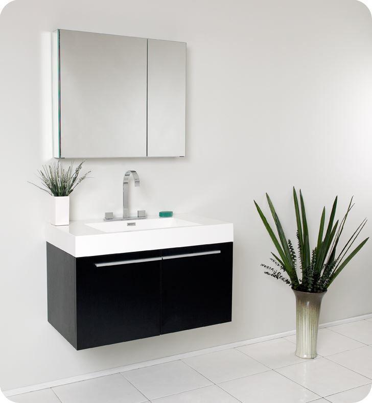 Picture of Fresca Vista Black Modern Bathroom Vanity w/ Medicine Cabinet