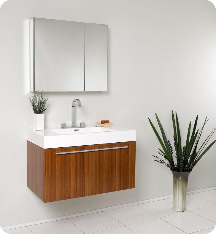 Picture of Fresca Vista Teak Modern Bathroom Vanity w/ Medicine Cabinet