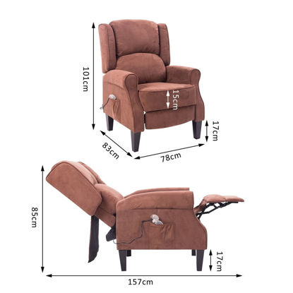 Picture of Heated Vibrating Suede Massage Recliner Chair - Brown