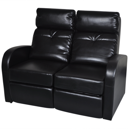 Picture of Home Cinema Recliner Reclining Sofa 2-seat Artificial Leather - Black