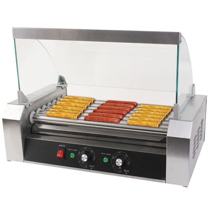 Picture of Hot Dog Grill Cooker Machine with cover for 18 Hotdog 7 Roller
