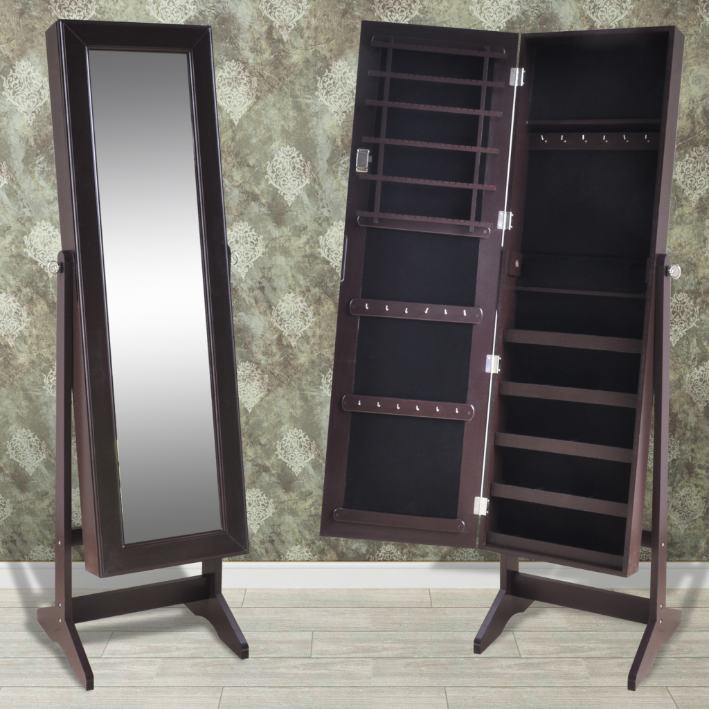 Picture of Jewelry Cabinet with Mirror Free Standing - Brown