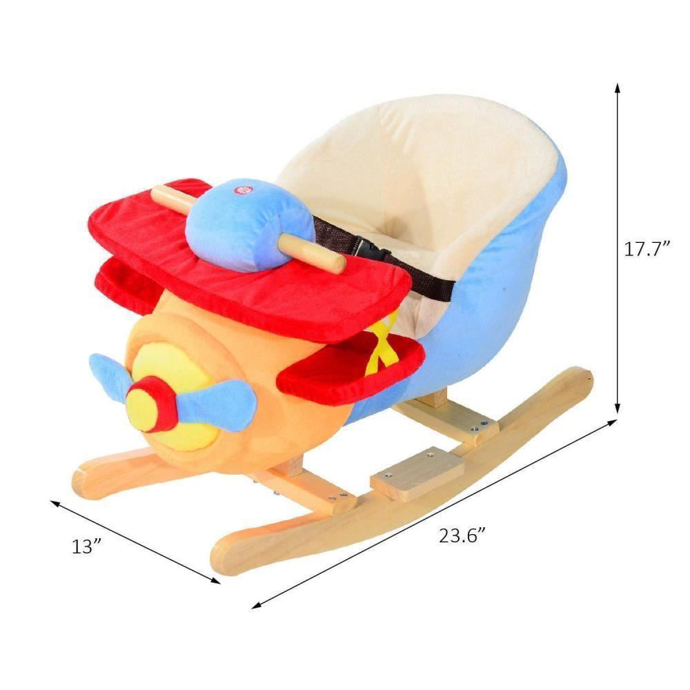 Picture of Kids Plush Rocking Horse Airplane with Nursery Rhyme Sounds