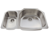Picture of Kitchen Double Bowl Undermount Sink Offset Stainless Steel