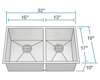 Picture of Kitchen Double Rectangular Stainless Steel Sink