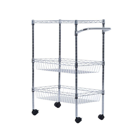 """Picture of Kitchen Rolling Trolley Cart Storage with - 24"""""""