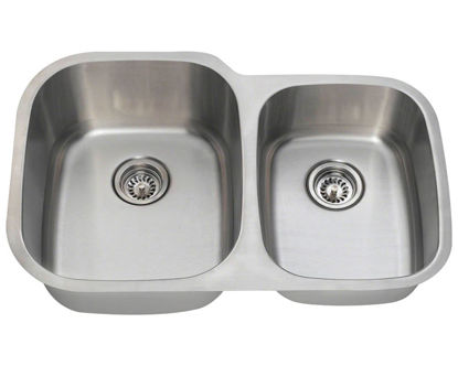 Picture of Kitchen Sink Double Bowl Undermount Sink Offset Stainless Steel