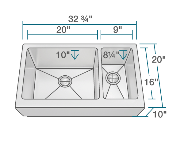 Picture of Kitchen Stainless Steel Sink Offset Apron
