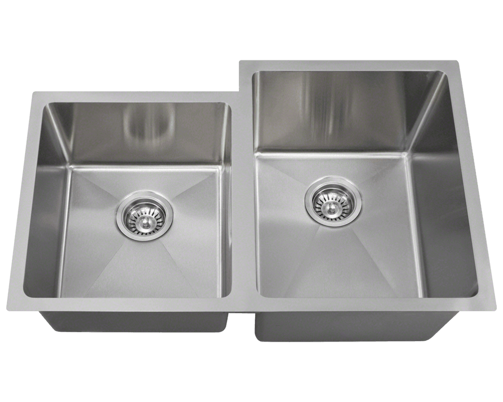 "Picture of Kitchen Stainless Steel Sink Offset Double Bowl 3/4"" Radius"