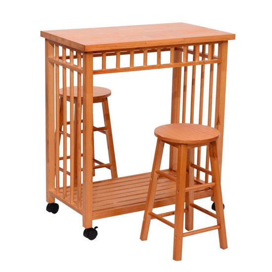"""Picture of Kitchen Storage Cart Rolling Trolley with Stools 32"""""""