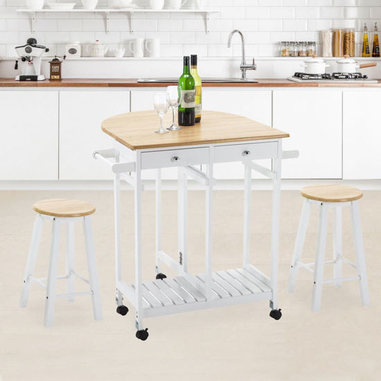 Picture of Kitchen Trolley Cart Dining Island with Stools