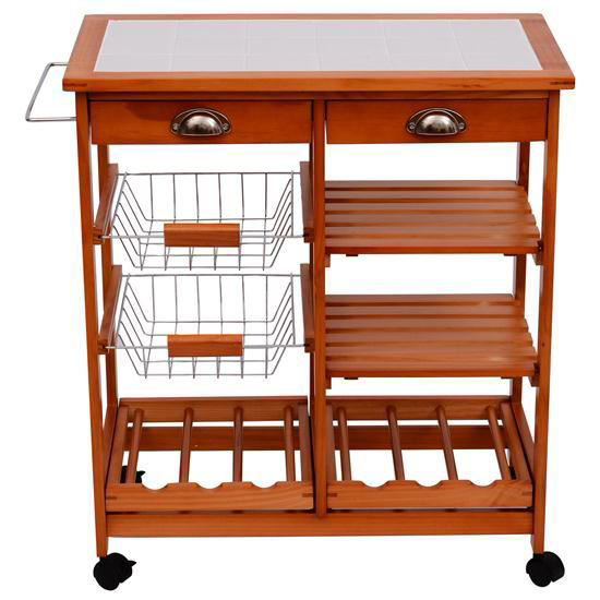 Picture of Kitchen Trolley Cart with Wine Rack - 30""