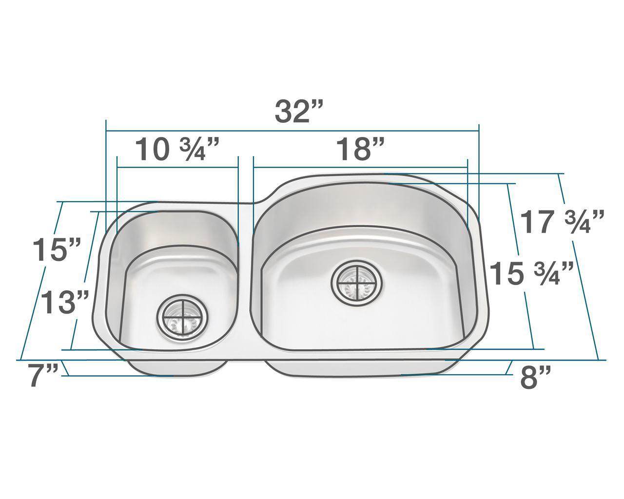 Picture of Kitchen Undermount Sink Offset Stainless Steel