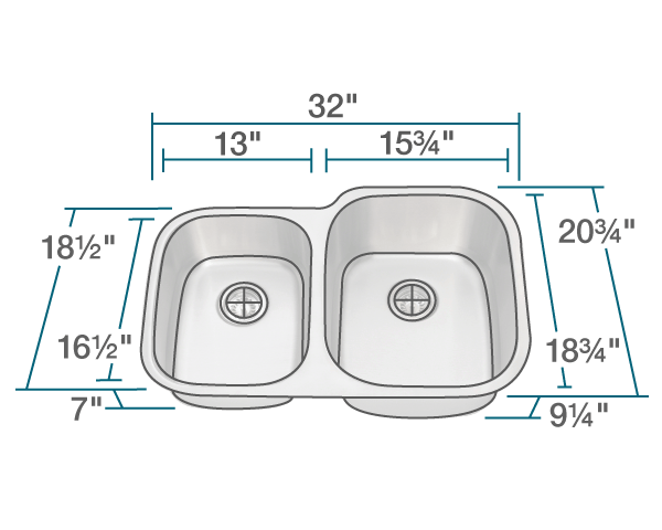 Picture of Kitchen Undermount Sink Reverse Offset Stainless Steel