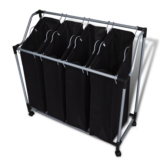 Picture of Laundry Sorter with 4 Bags - Black Gray