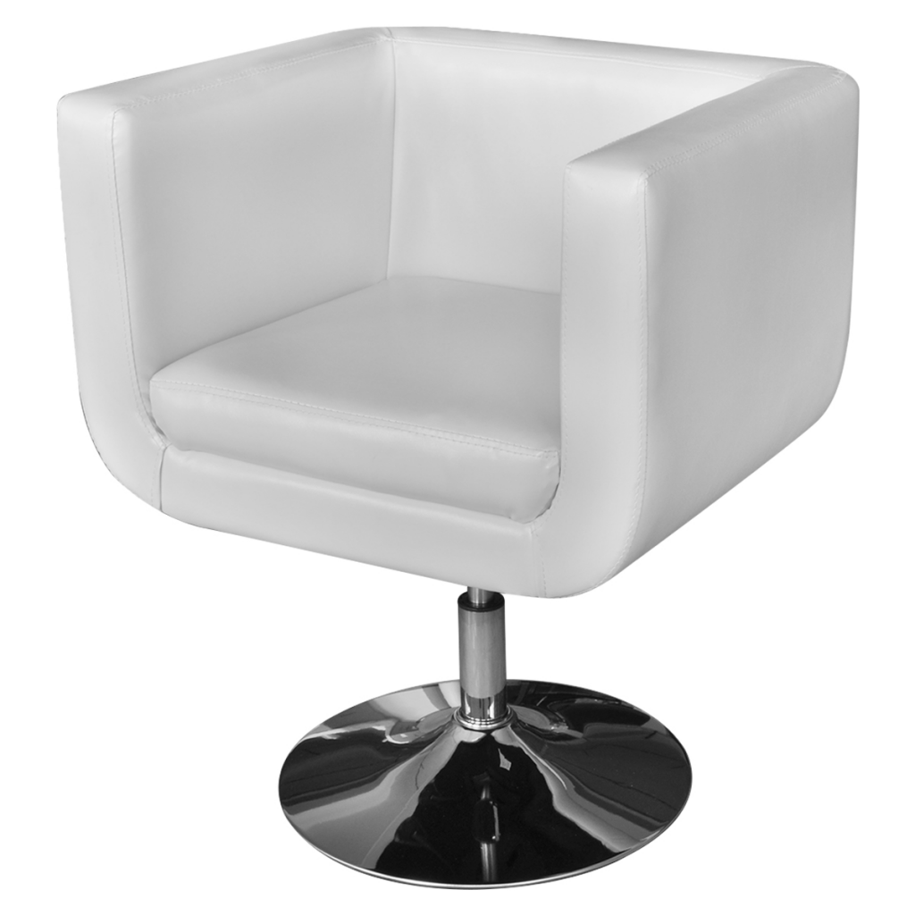 Picture of Living Room Chair Adjustable Armchair with Chrome Base - White
