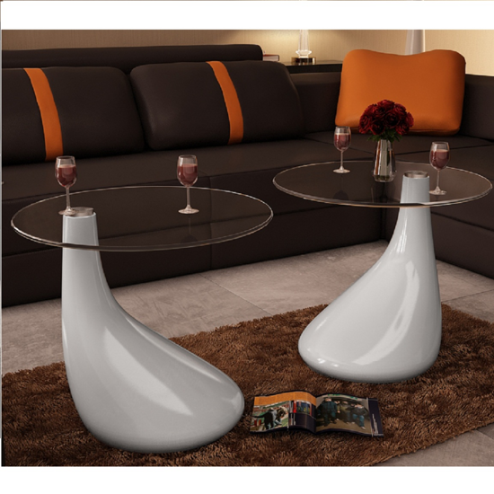 Picture of Living Room Drop Coffee Table - 2 pcs White