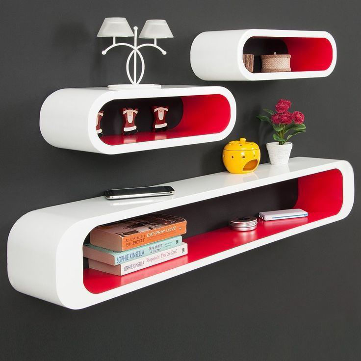 Picture of Living Room Shelf Floating Wall Display Cubes Shelves - Matte White and Red