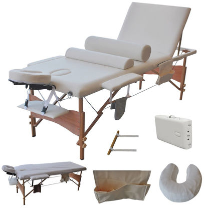 "Picture of Massage Table Portable Facial Bed with Sheet, Cradle, Cover and Bolsters 3 Fold 84""L White"