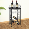 Picture of Metal Wine Rack Wine Table with Hooks for 9 Bottles