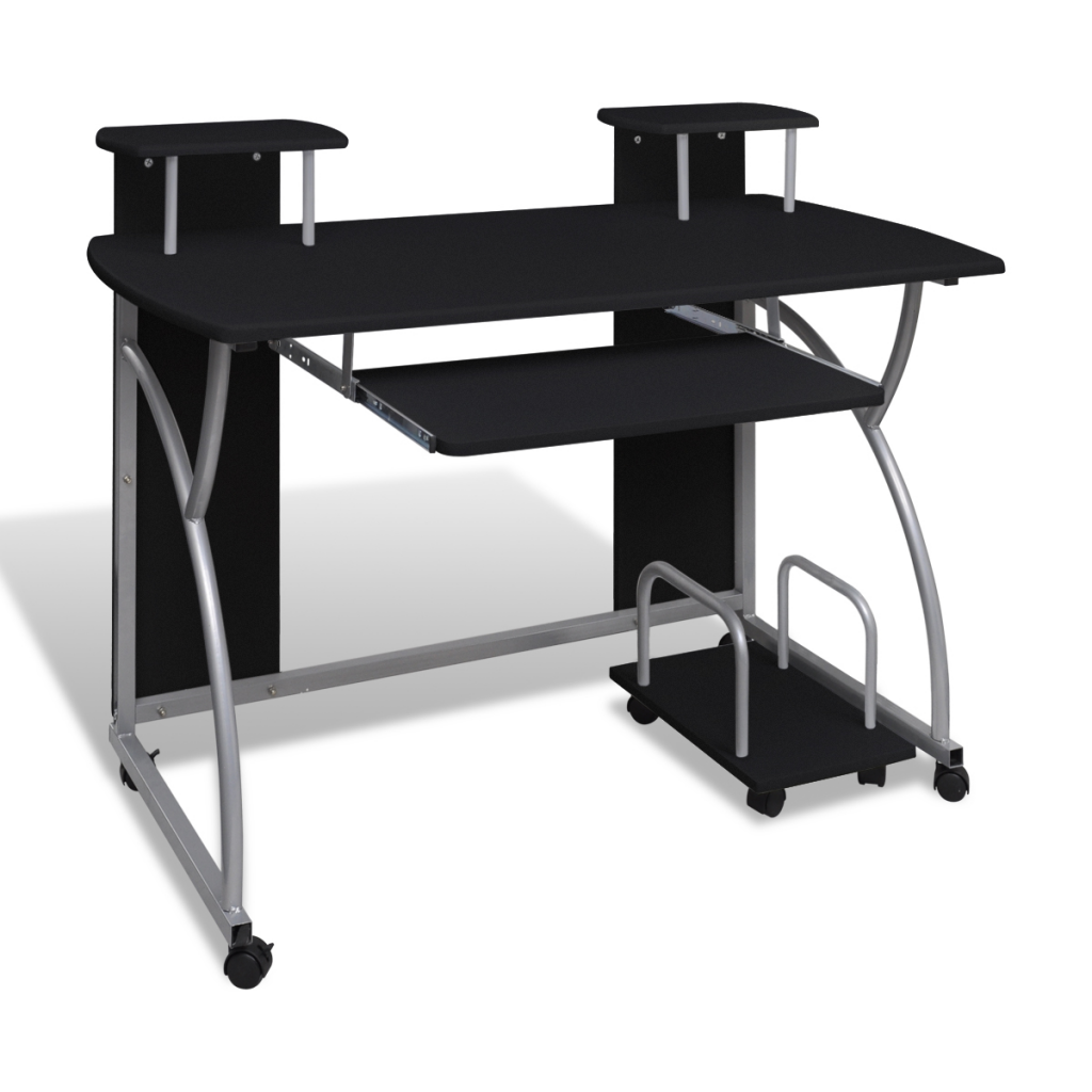 Picture of Mobile Computer Desk Pull Out Tray Finish - Black