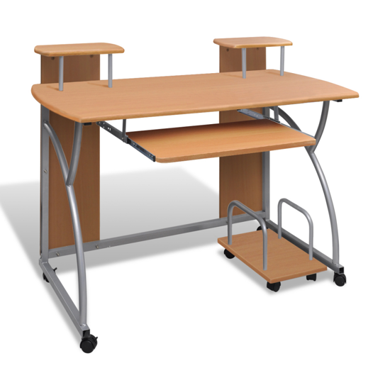 Picture of Mobile Computer Desk Pull Out Tray Finish - Brown