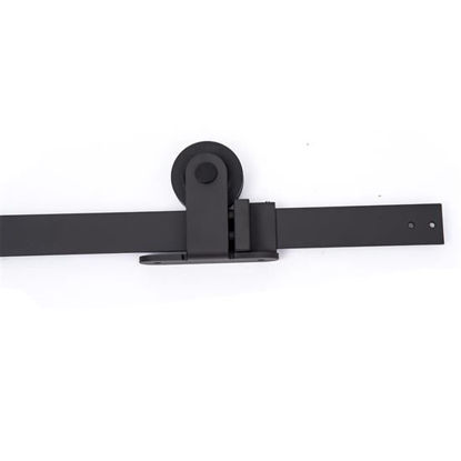 Picture of Modern 6' Interior Sliding Barn Door Kit Hardware Set - Black Carbon