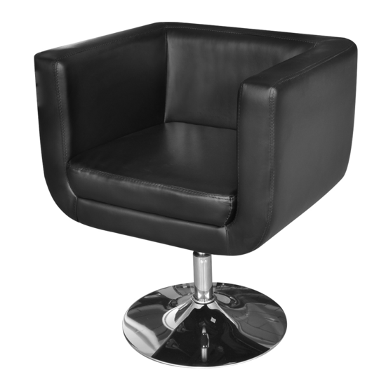 Picture of Modern Adjustable Swivel Artificial Leather Arm Chair with Chrome Base - Black