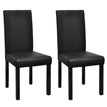 Picture of Modern Artificial Leather Wooden Dining Chair -Black 2 pc