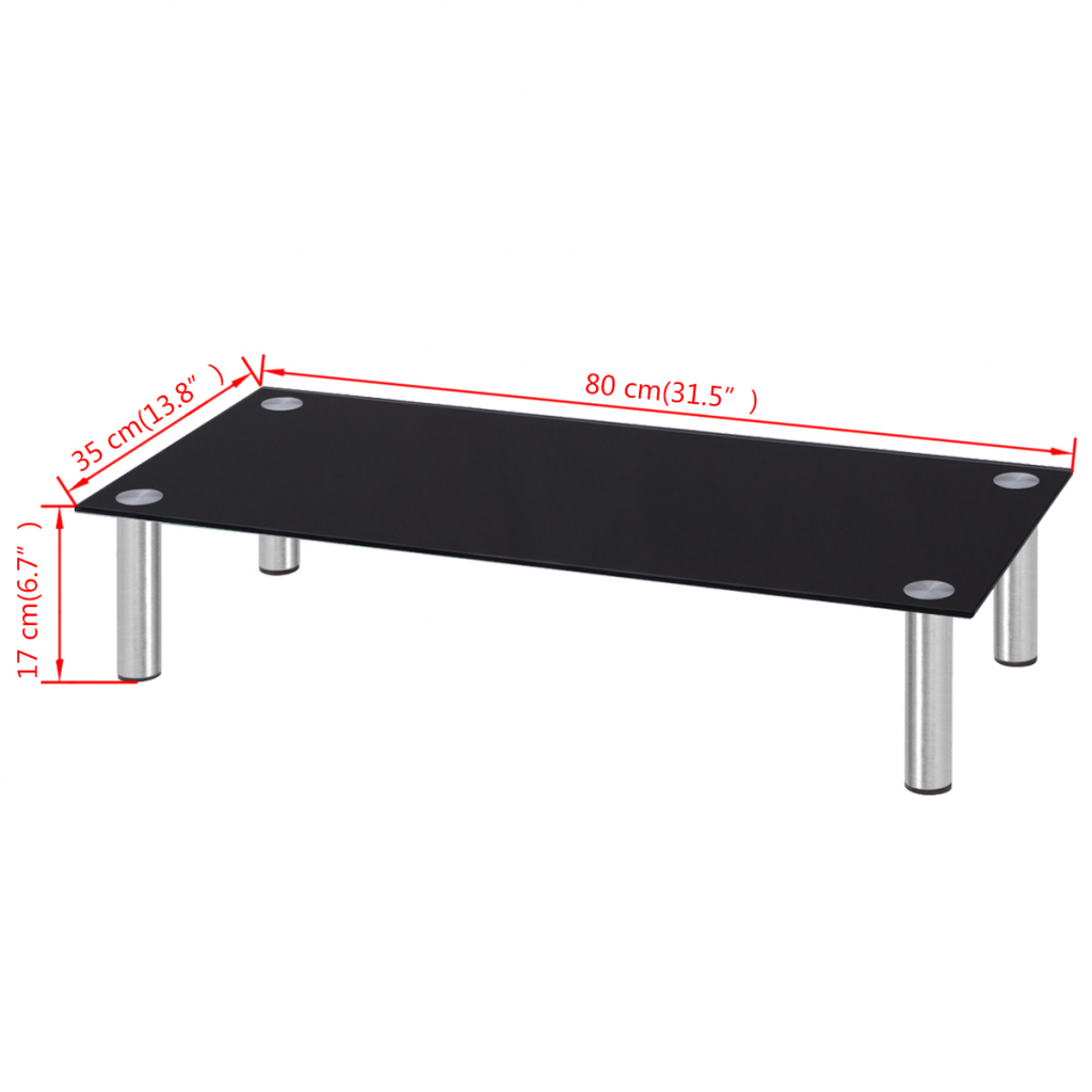 """Picture of Monitor Riser/TV Stand 31"""" - Glass Black"""