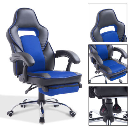 Picture of Office Reclining Chair with Footrest Race Car - Blue and Black