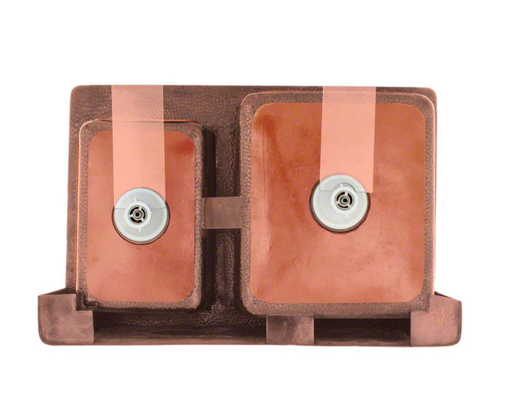 Picture of Offset Double Bowl Copper Apron Sink