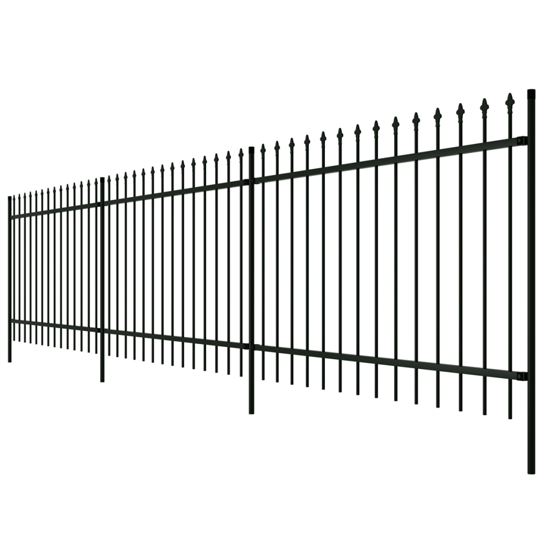 Picture of Ornamental Security Palisade Fence Steel Black Pointed Top 2'
