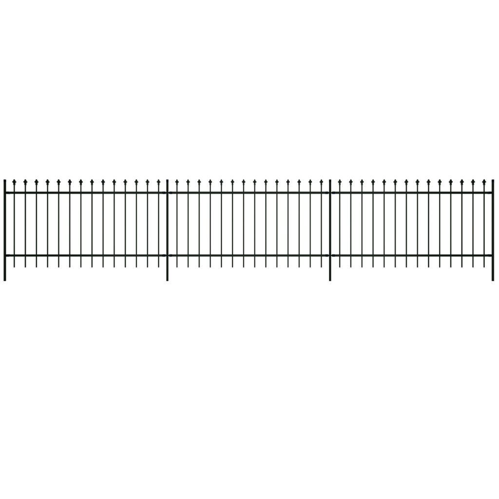 """Picture of Ornamental Security Palisade Fence Steel Black Pointed Top 3' 3"""""""