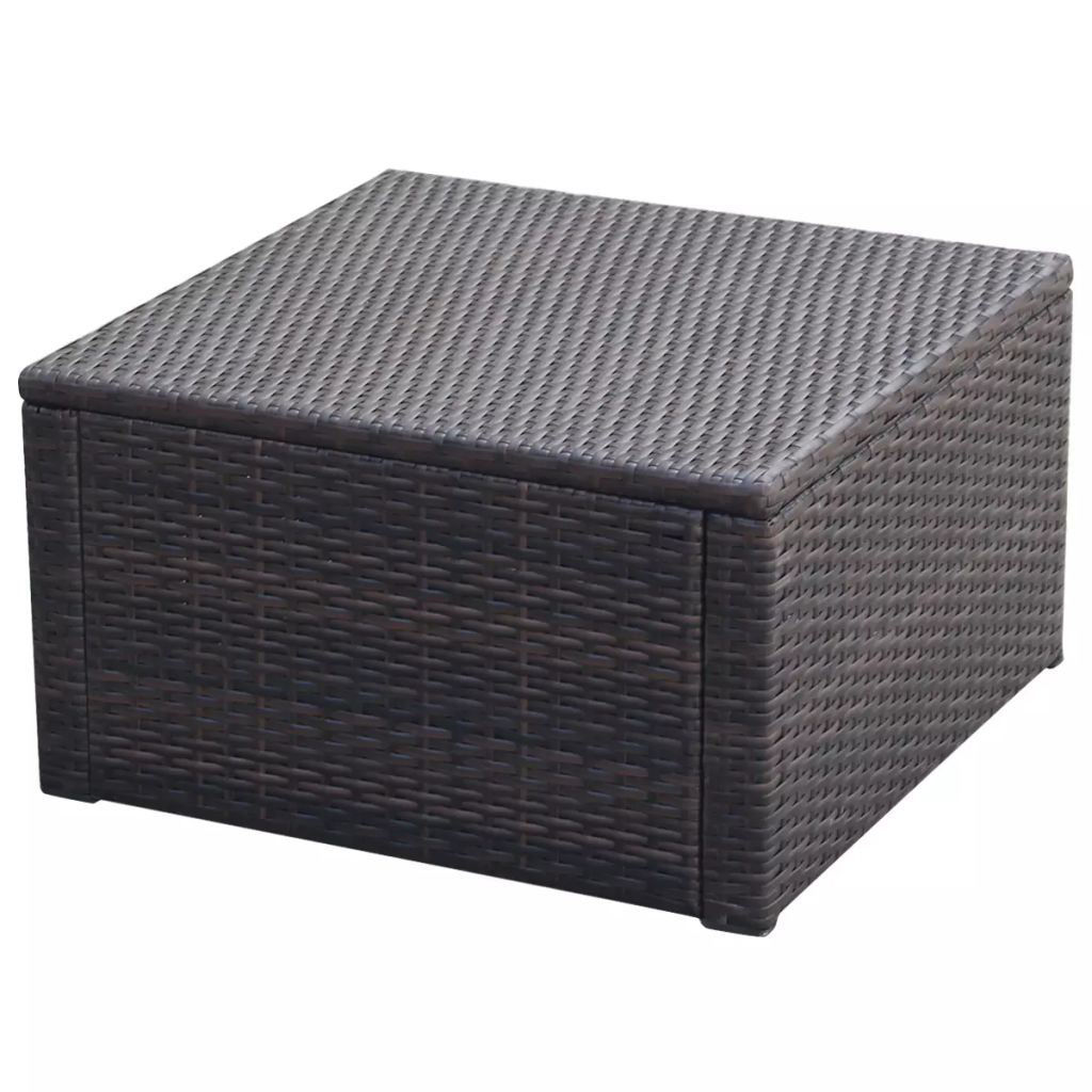 """Picture of Ottoman Footstool 21"""" - Poly Rattan - Brown"""