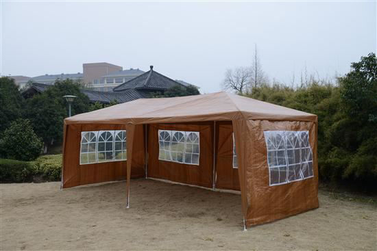 Picture of Outdoor 10' x 20' Gazebo Canopy Tent Coffee with 4 Removable Window Walls