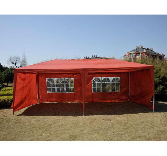 Picture of Outdoor 10' x 20' Gazebo Canopy Tent with 4 Removable Side Walls - Red