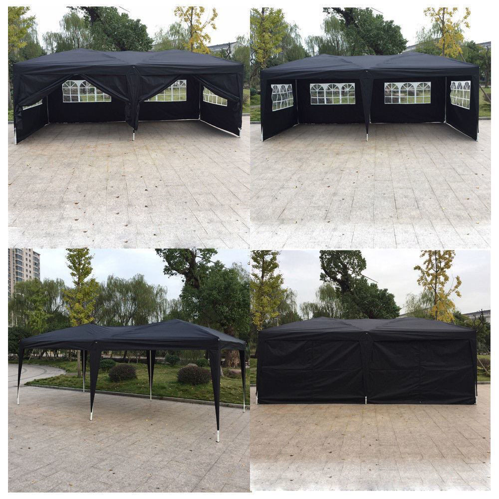 Picture of Outdoor 10' x 20' Tent Canopy with 6 Walls - Black