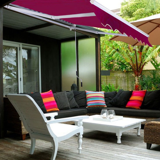 Picture of Outdoor Awning Sunshade Manual Patio Retractable 9.7' × 8.2'