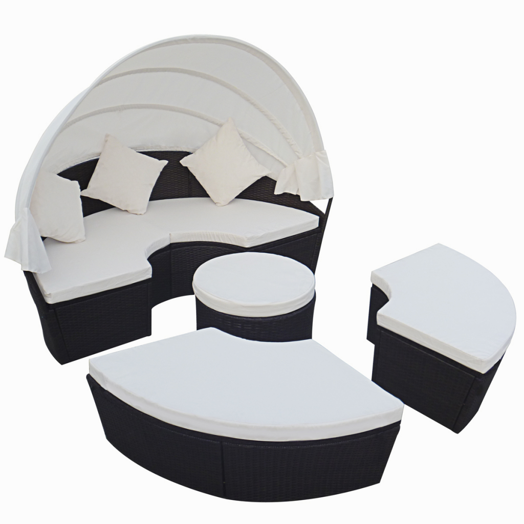 Picture of Outdoor 2-in-1 Rattan Lounge Set Round Sun Bed with Canopy - Black