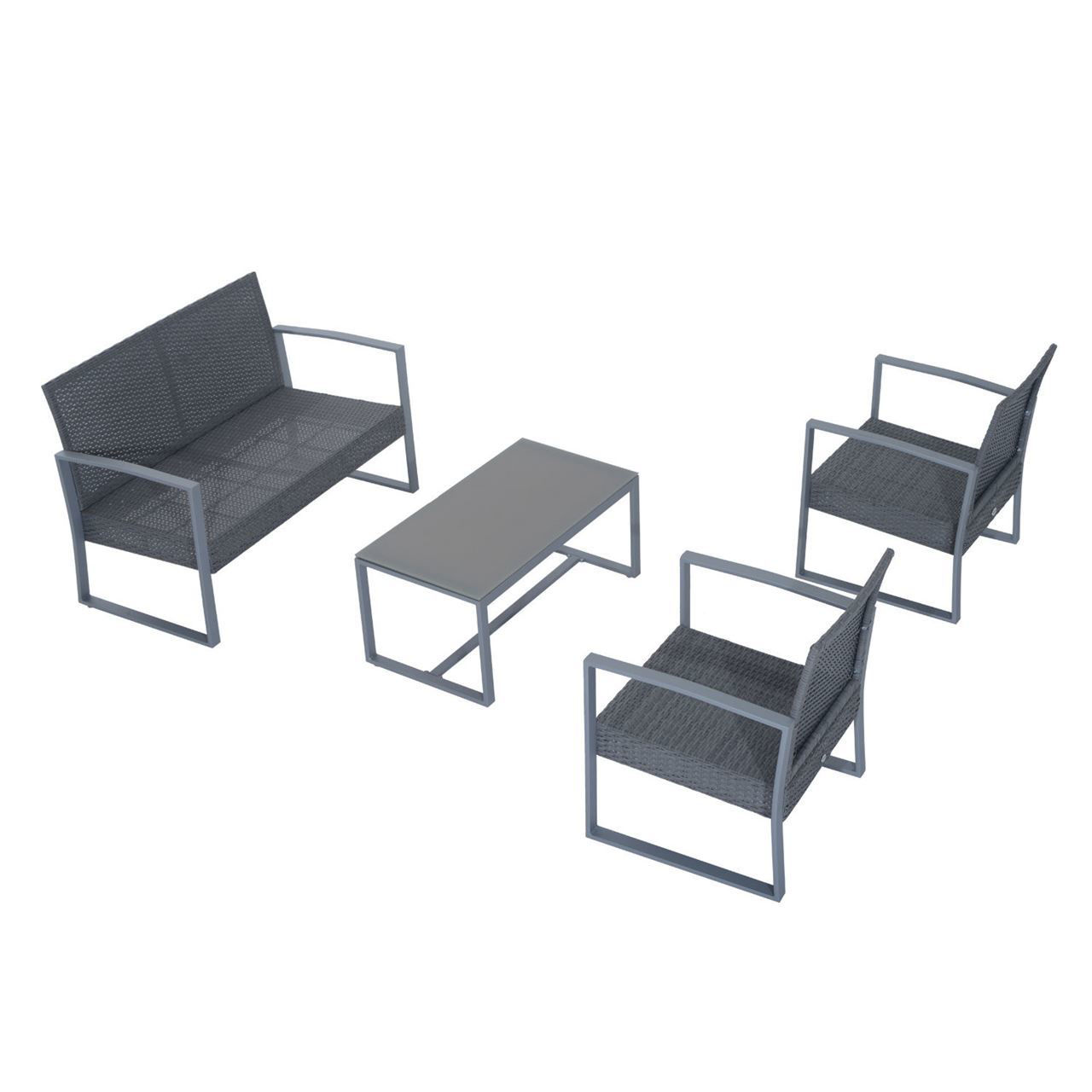 Picture of Outdoor 4-Piece Cushioned Rattan Wicker Chair and Loveseat Furniture Set