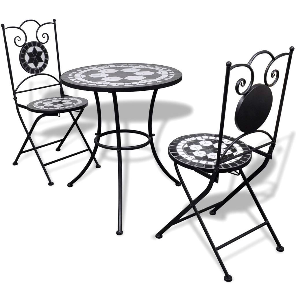 """Picture of Outdoor Bistro Table 23"""" with 2 Chairs - Mosaic - Black and White"""
