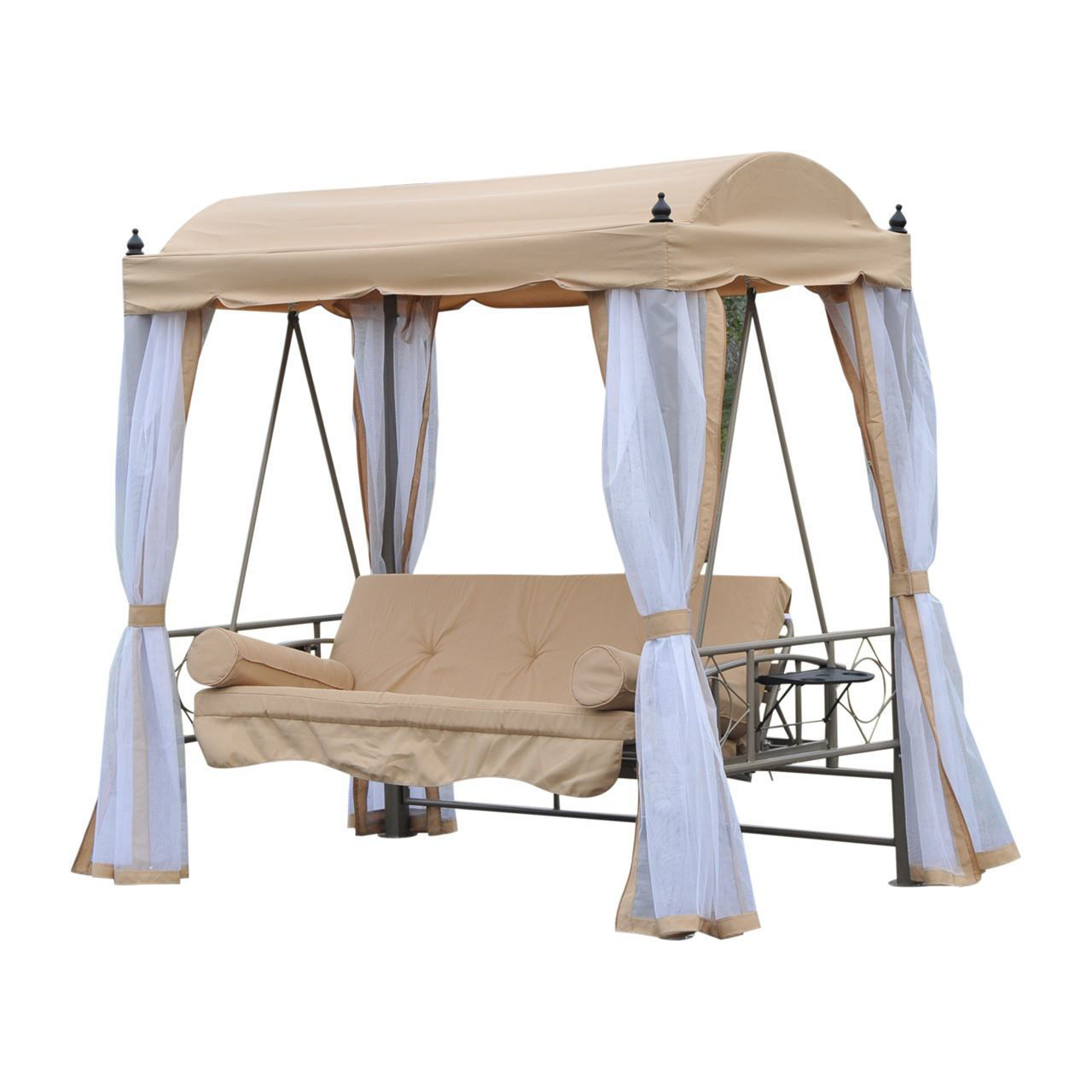 Picture of Outdoor Convertible Covered Patio Swing Bed with Mesh Side Walls - Beige