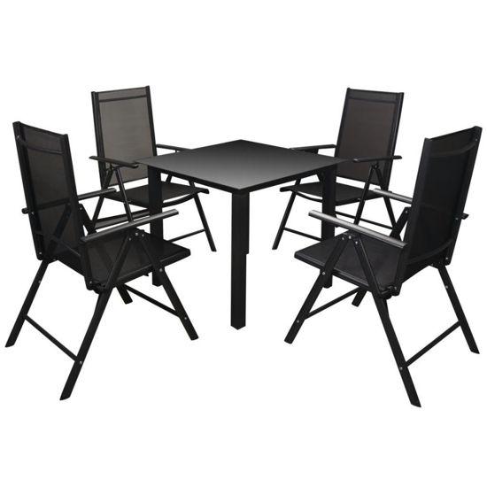Picture of Outdoor Dining Set - Aluminum 5pc Black
