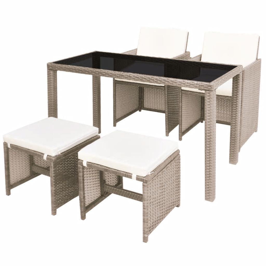 Picture of Outdoor Dining Set - Poly Rattan - Gray Beige