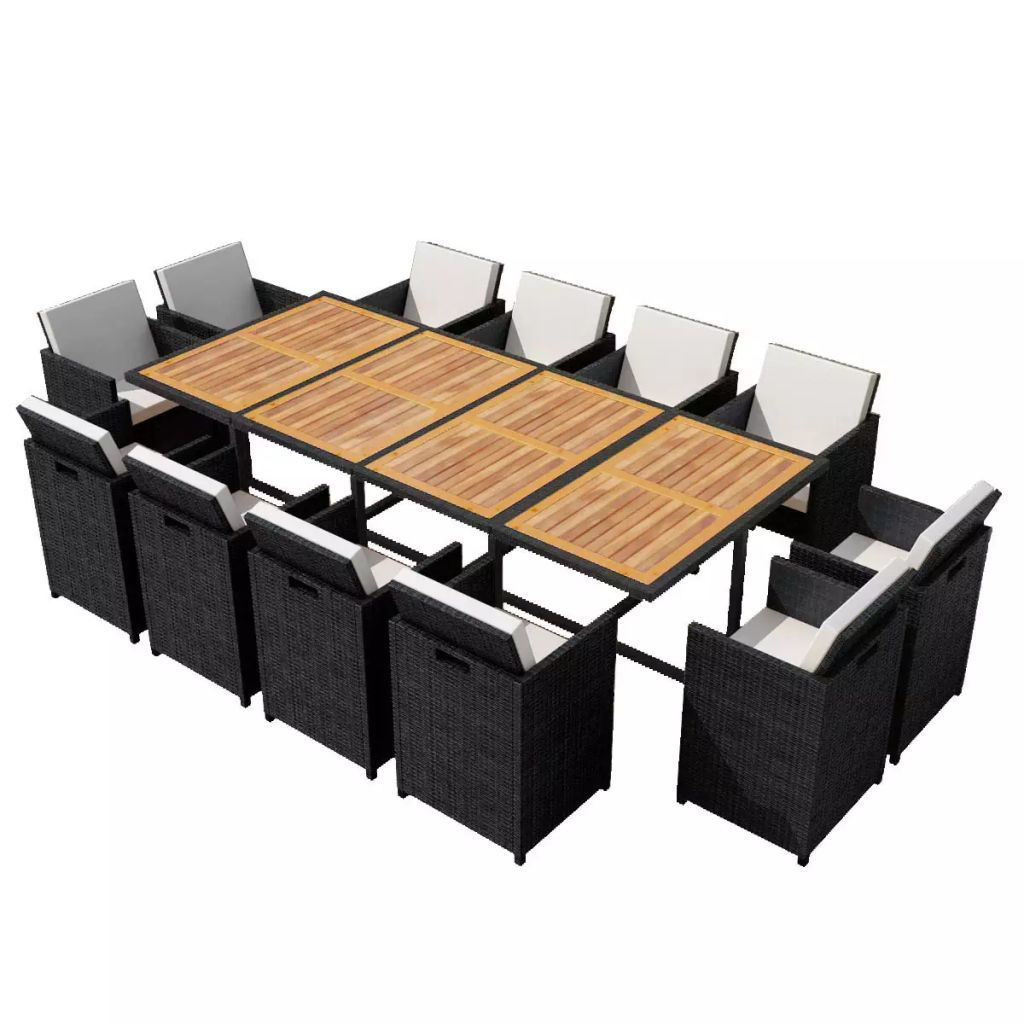 Picture of Outdoor Dining Set - Poly Rattan Acacia Wood - Black